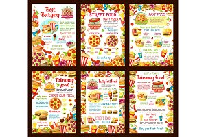 Fastfood restaurant menu vector posters