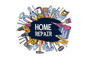 Home repair work tools sketch vector poster