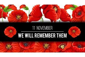 Remembrance day 11 November vector poppy banner