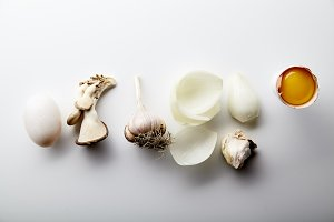 Asian cuisine ingredients on white background.