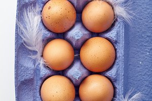 Dozen of chicken eggs in colorful cardboard container