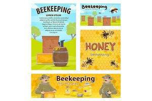 Beekeeping honey apiary beekeeper vector posters