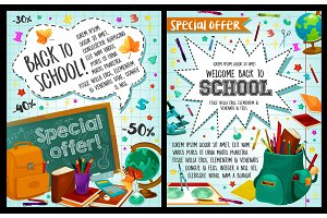 Back to School vector study stationery posters