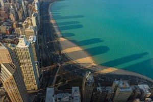 Lake Michigan, clear lake, Chicago Skyscrapers, Illinois, USA