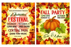Autumn harvest festival poster of Thanksgiving Day