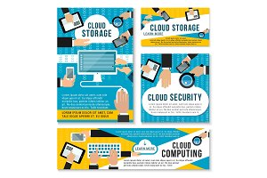 Vector internet cloud storage technology posters