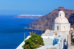 Church in Fira on Santorini Island