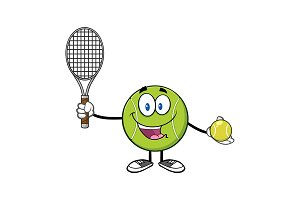 Cute Tennis Ball Player Character