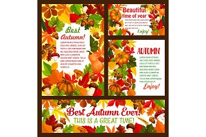 Autumn maple leaf, acorn and pumpkin vector poster