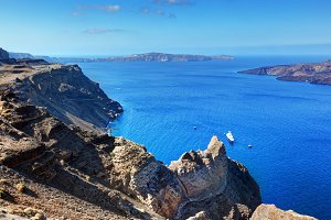 Cliff and rocks of Santorini Island