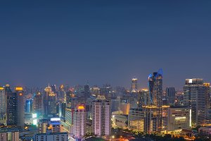Bangkok City at night, Skyline, Thailand