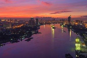 Chao Phraya River at Sunrise, Bangkok, Thailand