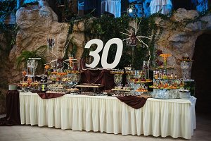 Birthday table decoration of 30th