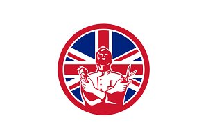 British Barber Union Jack Flag Icon