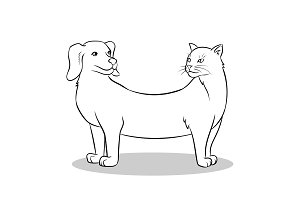 Cat dog fake animal coloring vector illustration