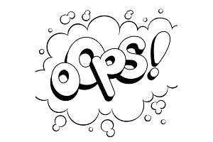 Oops word comic book coloring vector illustration