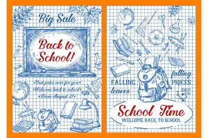 Back to School sale vector sketch posters