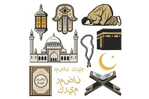 Islam icon with religion and culture symbols