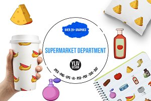 Supermarket department icons set