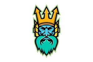 Poseidon Greek God Mascot