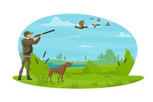Hunter and hunt for ducks vector poster design