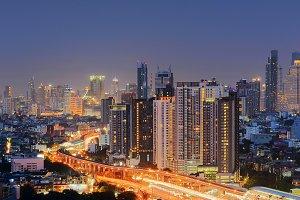 Skyscrapers Cityscape at night, Bangkok City, Thailand