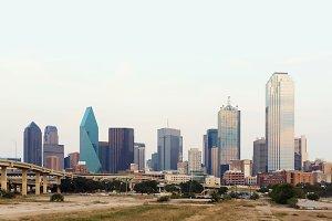 Downtown Dallas City with white sky, Texas, USA