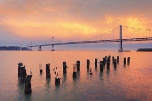The Bay Bridge at sunset, San Francisco, California, USA