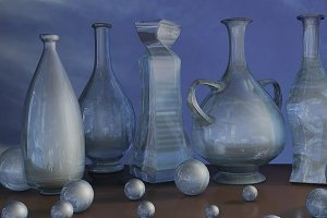 3d art illustration of blue glass jar vase and ball composition