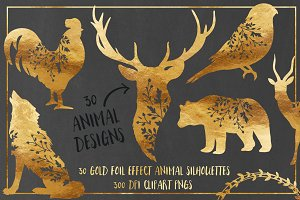 30 Gold Foil Effect Floral Animals