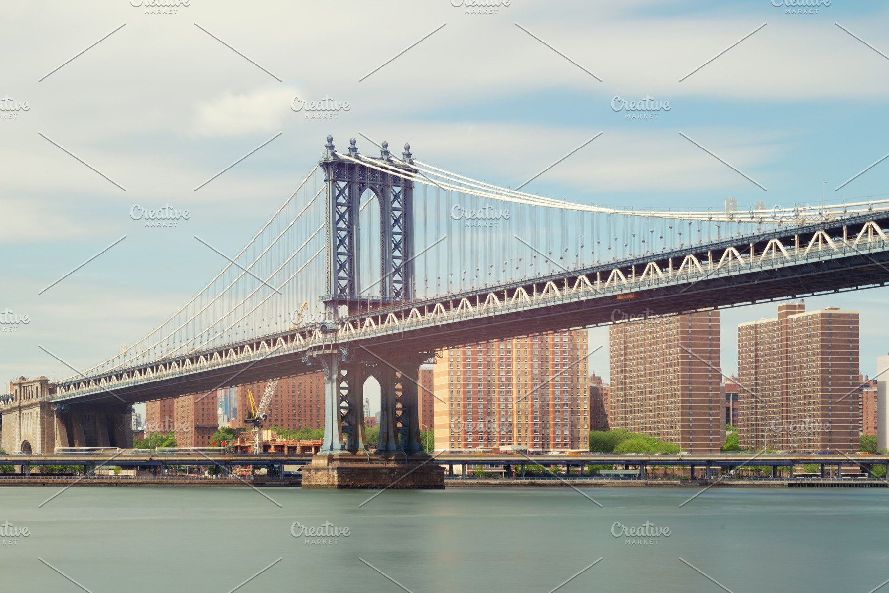 Manhattan Bridge At Noon New York Usa Architecture Photos