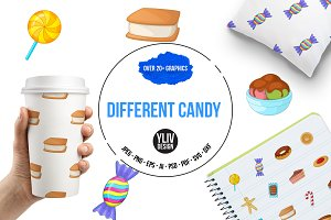 Different candy icons set