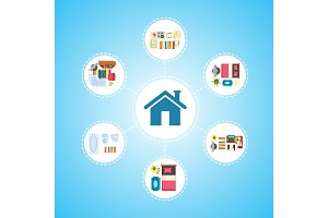 House Icon and Living Space Vector Illustration
