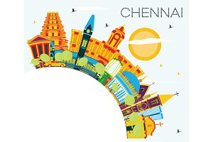 Chennai India Skyline with Color
