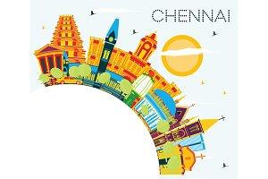 Chennai India Skyline with Color