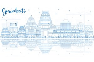 Outline Guwahati India City Skyline