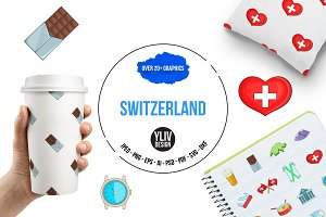Switzerland travel icons set