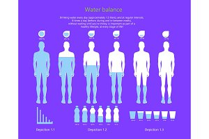 Water Balance in Human Body Vector Illustration