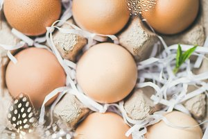 Natural colored eggs for Easter in box, close-up