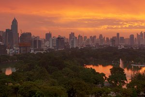 Lumpini Park at sunsire, Bangkok city, Thailand