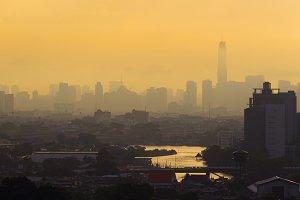 Skyscrapers with Chao Phraya river in Bangkok city, Thailand