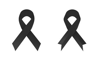 Black awareness ribbon on white background. 3D illustration