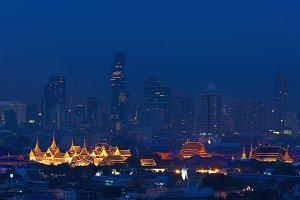 Grand Palace and Wat Pho in Bangkok City, Thailand at night