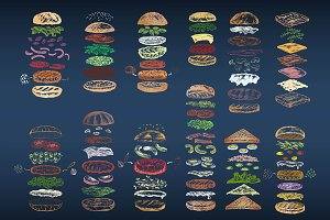 Color set of 12 different burgers