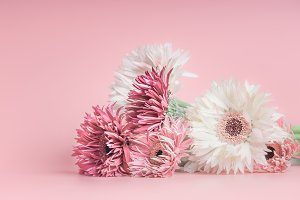 Pretty pastel flowers bunch on pink