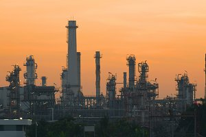 Industrial Landscape with Smoking Pipes of Bangchak Petroleum's oil refinery, Bangkok, Thailand