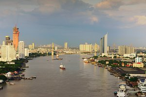 Downtown Bangkok city at night, Chao Phraya River, Thailand