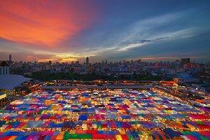 Night Market, The Train of Ratchada at Bangkok city at sunset, Thailand
