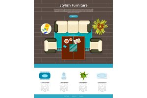 Stylish Furniture Web Page Vector Illustration