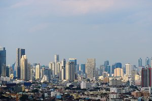 Skyscrapers in Bangkok City at sunset, Thailand